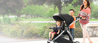 The BravoFor2 2 passenger sitting and standing quick fold double stroller