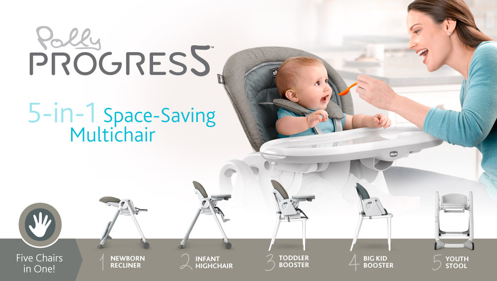 Intoducing the Progres5 space saving highchair by Chicco