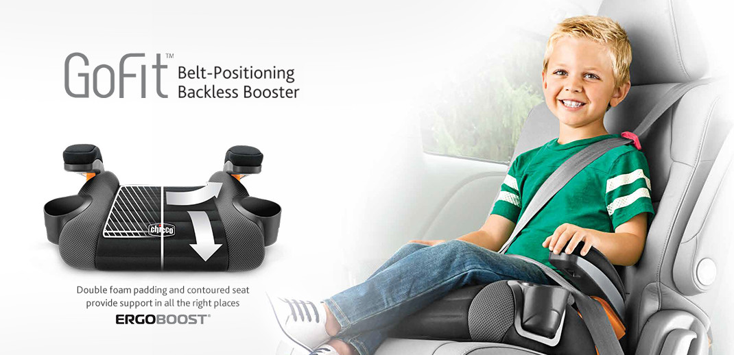 introducing the next on-the-go car safety solution designed for big kids designed for comfort and safety - the GoFit backless booster car seat by Chicco